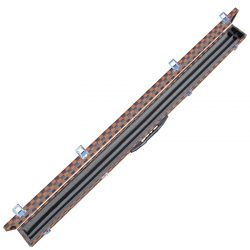Brown Lattice foam lined butt jointed Cue Case for snooker or pool cue. open