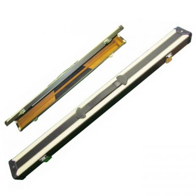 2 pc leatherette cue case with white stripes for snooker and pool cues.